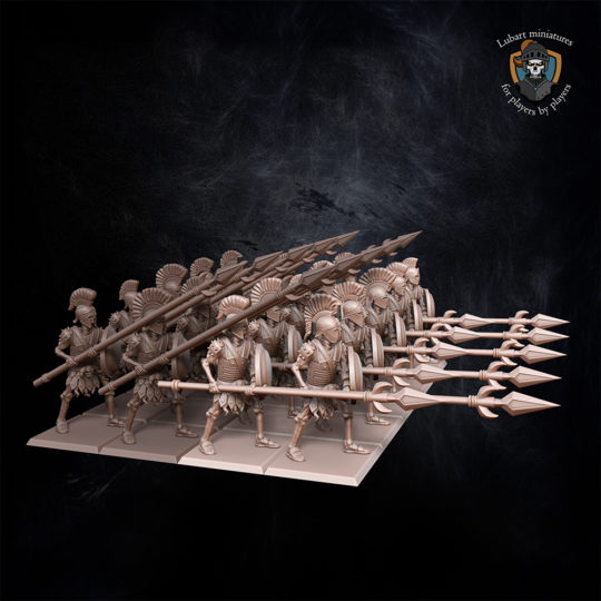 Skeletons with spears. Miniatures for Undying Dynasties