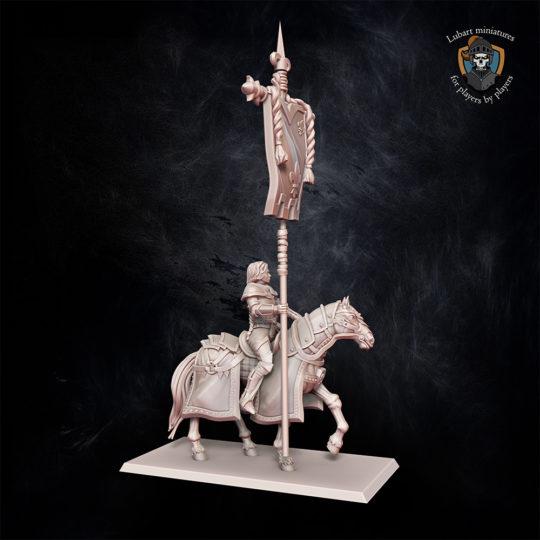 Kingdom of Equitaine Battle standard bearer on horse ministure