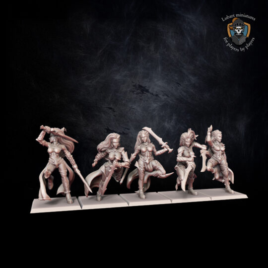 Temple Militants. Miniatures for the Dread Elves army.