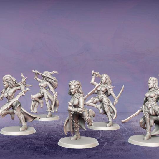 Temple Militants. Miniatures for the Dread Elves army.